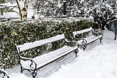 wooden snow covered benches in winter Sofia Stock Photography
