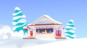 Wooden snow cowered cottage happy new year merry christmas holidays decorations concept snowy fir tree flat. Vector illustration stock illustration