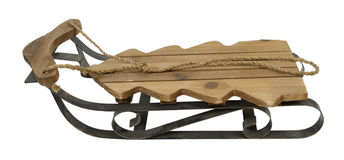 Wooden Snow Sled in Shape of a Tree Royalty Free Stock Photography