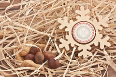 Wooden snowflake Royalty Free Stock Images