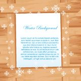 Wooden with snowflakes Royalty Free Stock Image