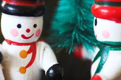 Wooden snowman christmas ornaments Royalty Free Stock Photography