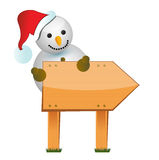 Wooden snowman sign. Illustration design over white Royalty Free Stock Images