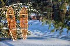 Wooden Snowshoes - Michigan Winter Stock Photos