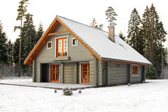 Wooden snowy lodge in forest Stock Photography