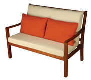 Wooden Sofa with Cushion. Wooden Chair with Cushion isolated with clipping path Royalty Free Stock Photo