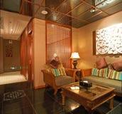 Wooden sofa lounge Royalty Free Stock Image