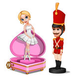 Wooden soldier toy and music box with ballerina Stock Photos