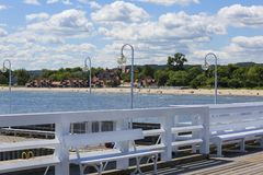 Wooden Sopot pier in sunny day, Sopot, Poland. Wooden Sopot pier in sunny day,view of the beach, Sopot, Poland stock photos