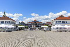 Wooden Sopot pier in sunny day. View of the Spa House, Sopot, Poland. SOPOT, POLAND - JUNE 6, 2018: Wooden Sopot pier in sunny day. View of the Spa House Stock Photos