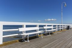 Wooden Sopot pier in sunny summer day, Sopot, Poland.  stock photos