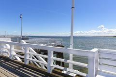 Wooden Sopot pier in sunny summer day, Sopot, Poland.  royalty free stock image