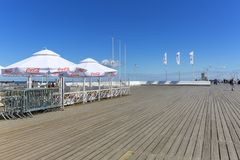 Wooden Sopot pier in sunny summer day, Sopot, Poland. SOPOT, POLAND - JUNE 6, 2018: Wooden Sopot pier in sunny day. It is the longest wooden pier in Europe, 511 Royalty Free Stock Photography