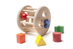 Wooden sorter child toy. On the white royalty free stock photography