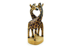 Wooden soul mate giraffe statue isolated on white background.  Royalty Free Stock Images