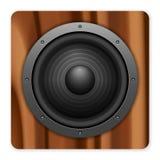 Wooden sound speaker icon Royalty Free Stock Photos