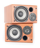 Wooden sound speakers isolated on white. Background stock images