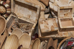 Wooden souvenir traditional kitchenware Royalty Free Stock Photography