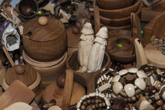 Wooden souvenir traditional kitchenware Royalty Free Stock Images