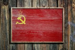 Wooden Soviet Union flag. 3d rendering of an old Soviet Uinon flag on a wooden frame and a wood wall Stock Photography