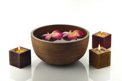 Wooden Spa Bowl With Candles and Flowers Stock Images
