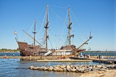 Wooden Spanish Warship. A Spanish wooden warship stop for tours on the York river in Virginia Royalty Free Stock Images