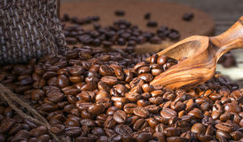Wooden spatula is gaining fresh roasted coffee Stock Images