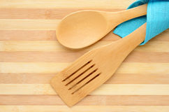 Wooden spatula and spoon Royalty Free Stock Images