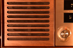 Wooden speaker grille on a vintage radio Stock Photo