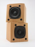 Wooden speakers. The speaker pun on the speaker Royalty Free Stock Photo