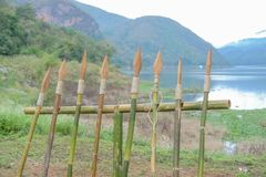 Wooden spears Stock Photos