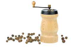Wooden spice handmill and allspice Royalty Free Stock Photo