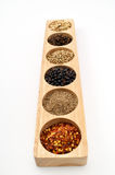 Wooden Spice Rack Filled with Spices Royalty Free Stock Photo
