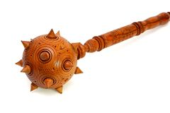 Wooden spiky souvenir mace isolated Royalty Free Stock Photo