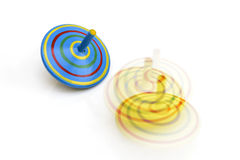 Wooden spinning top toys Royalty Free Stock Images