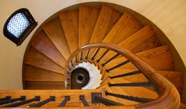 Wooden Spiral Staircase. A Historic Wooden Spiral Staircase Stock Photo