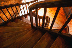 Wooden spiral staircase in old building, Paris, France Stock Photography