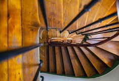 Wooden spiral staircase in old building, Paris, France Stock Photo