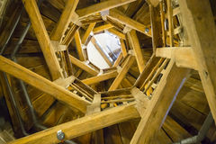 Wooden spiral staircase Royalty Free Stock Image