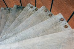 Wooden spiral staircase top view stock photos