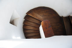 Wooden spiral stairs Stock Photos