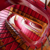 Wooden spiral steps in old house stock photos
