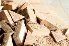 Wooden splinter cut and sawdust Stock Photography