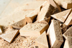 Wooden splinter cut and sawdust Stock Images