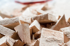 Wooden splinter cut and sawdust Royalty Free Stock Image