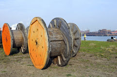 Wooden spool for electric wires Royalty Free Stock Images