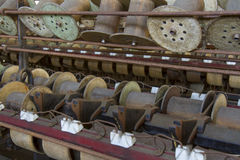 Wooden spools and bobbins Stock Image