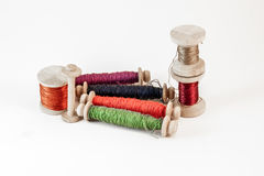 Wooden spools of thread Royalty Free Stock Image
