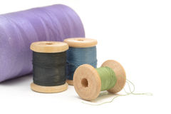 Wooden spools of thread Royalty Free Stock Images
