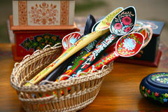 Wooden spoon. A bunch of wooden spoons hand made and painted by Romanian craftsmen Stock Image